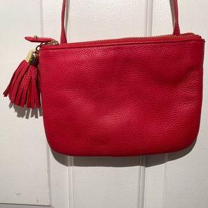 Talbots Leather Tassel Cross Body Bag Red